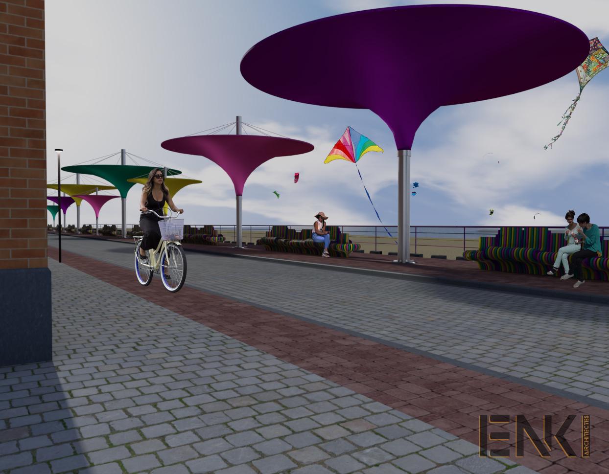ENKI - MOBILIER URBAIN- préau plage couleur - Image1+perso