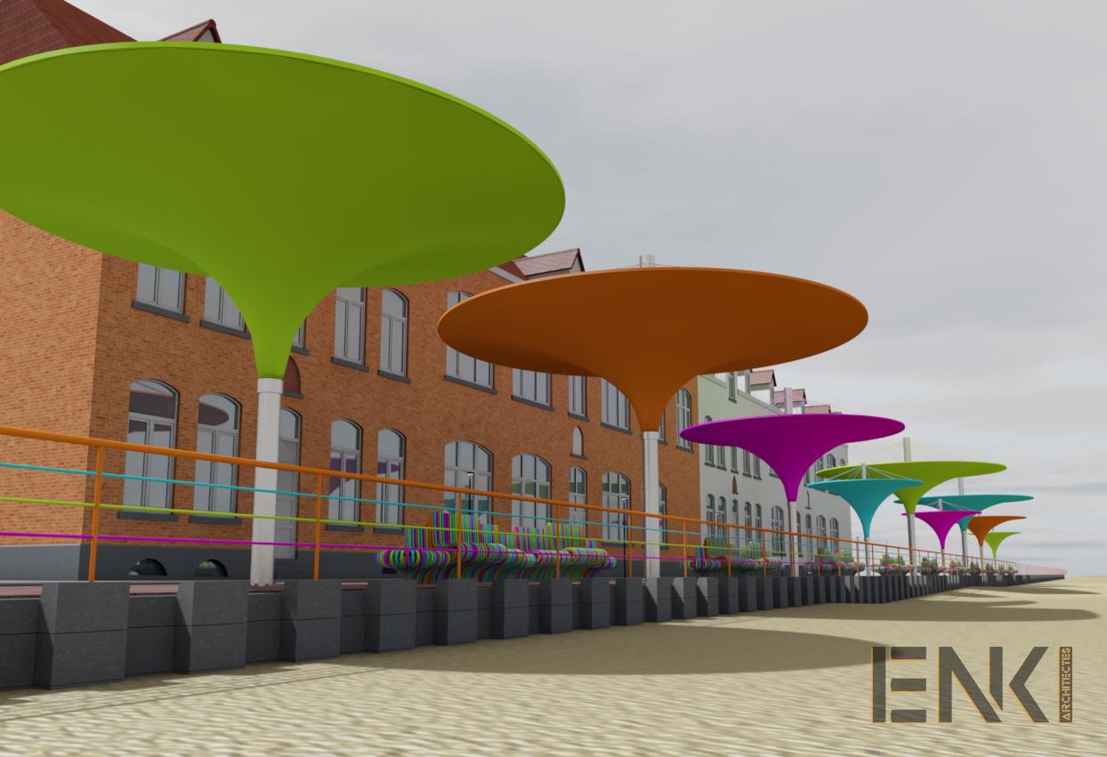ENKI - MOBILIER URBAIN- préau plage couleur fashy - Image1