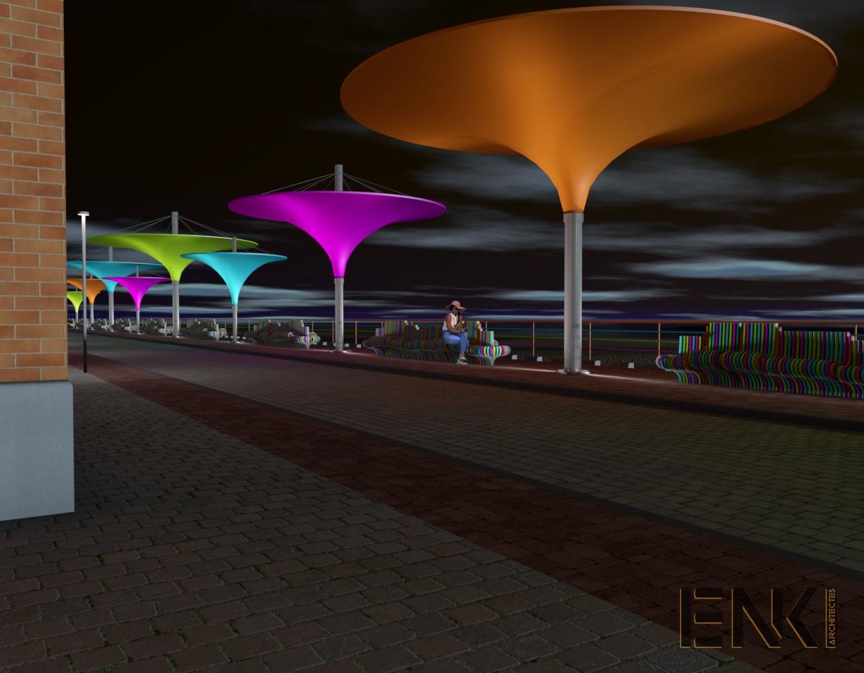 ENKI - MOBILIER URBAIN- préau plage couleur fashy - Image2