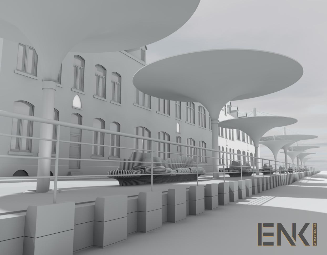 ENKI - MOBILIER URBAIN- préau plage maquette
